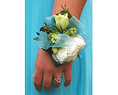 Wristlet with lisianthus and peonies in Ammon ID, Petal Passion