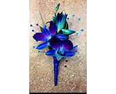 Dyed blue dendrobium orchid boutonni�re in Ammon ID, Petal Passion