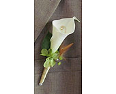 Calla lily boutonni�re in Ammon ID, Petal Passion