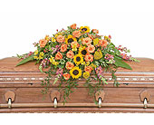 Heaven's Sunset Casket Spray in Wellsville NY, Tami's Floral Expressions