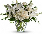 serene white vase arrangment in Bismarck, North Dakota, Dutch Mill Florist, Inc.