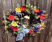 Bright Butterfly Wreath in Franklinton LA, Margie's Florist