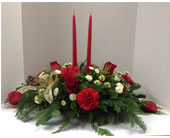 Christmas Centerpiece with Candles in Meriden CT, Rose Flowers & Gifts