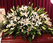 Lovely White Casket Spray in Smyrna GA, Floral Creations Florist