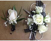 Black and Silver Corsage and Bout Set in Smyrna GA, Floral Creations Florist