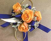 Orange, Blue and Gold Corsage in Smyrna GA, Floral Creations Florist