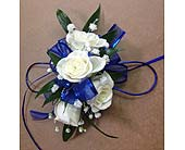 Blue and White Corsage in Smyrna GA, Floral Creations Florist