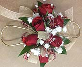 Red and Gold Corsage in Smyrna GA, Floral Creations Florist