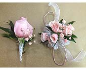Pink and White Corsage and Boutonniere Set in Smyrna GA, Floral Creations Florist