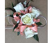 Coral and White Corsage in Smyrna GA, Floral Creations Florist