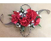 Red, Black and Silver Carnation Corsage in Smyrna GA, Floral Creations Florist