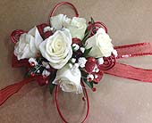 Red and White Corsage in Smyrna GA, Floral Creations Florist