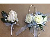 Light Blue, Silver and White Corsage and Boutonniere Set in Smyrna GA, Floral Creations Florist