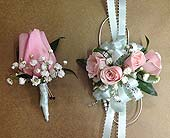 Light Blue and Pink Corsage and Boutonniere Set in Smyrna GA, Floral Creations Florist