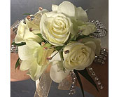 White Shimmer Corsage in Smyrna GA, Floral Creations Florist