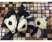 White Ranunculus Corsage and Boutonniere in Smyrna GA, Floral Creations Florist