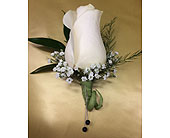 White Rose Boutonniere in Smyrna GA, Floral Creations Florist