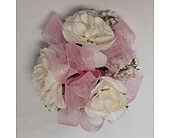 Carnations & baby's breath child's wrist corsage in Wyoming MI, Wyoming Stuyvesant Floral