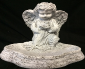 Kneeling Angel Holding Bird in Amelia OH, Amelia Florist Wine & Gift Shop