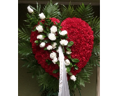 HEART RED CARNS WHITE ROSES in Woodbridge NJ, Floral Expressions