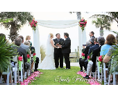 Bamboo canopy w/pk. floral clusters & petal aisle in Sarasota, Florida, Flowers By Fudgie On Siesta Key