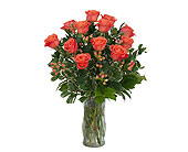 Orange Roses and Berries Vase in Timmins ON, Heartfelt Sympathy Flowers