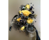 Black & Gold wrislet in New Iberia, Louisiana, Breaux's Flowers & Video Productions, Inc.