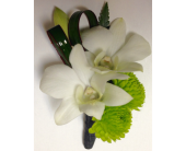 Orchids & Green Buttons Boutonniere in Wyoming MI, Wyoming Stuyvesant Floral