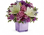 Teleflora's Pleasing Purple Bouquet in Burnaby BC, Lotus Flower & Terra Plants