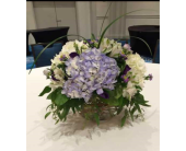Blue & White Centerpiece in glass cube in Belford, New Jersey, Flower Power Florist & Gifts