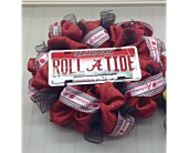 Alabama Crimson Tide Door Wreath For Home in Smyrna GA, Floral Creations Florist