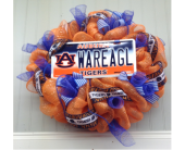Auburn Tigers Door Wreath For Home in Smyrna GA, Floral Creations Florist