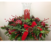 Festive Green And Red Centerpiece  in Smyrna GA, Floral Creations Florist
