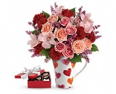 Lovely Hearts Bouquet with chocolates in Paris ON, McCormick Florist & Gift Shoppe