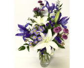 Blue Iris in Tulip Vase - Designed One-Sided in Wyoming MI, Wyoming Stuyvesant Floral