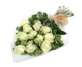 Wrapped White Roses in Mississauga ON, Flowers By Uniquely Yours