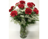 Dozen Red Carnations & Baby's Breath - All-Around in Wyoming MI, Wyoming Stuyvesant Floral