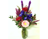 Touch of Iris in Tulip Vase - Designed One-Sided in Wyoming MI, Wyoming Stuyvesant Floral