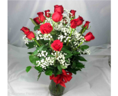 18 LONG STEM RED ROSES IN VASE by Rubrums in Ossining NY, Rubrums Florist Ltd.