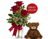 3 Red Roses with Plush Bear in Tacoma WA, Tacoma Buds and Blooms formerly Lund Floral