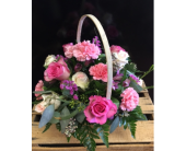 PINK TRADITIONAL FLORAL BASKET in Missouri City, Texas, Flowers By Adela