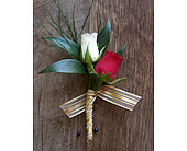 Rose & Fern Boutonniere in Muskegon MI, Wasserman's Flower Shop