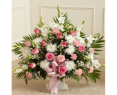 Tribute Floor Basket - Pink and White (Deluxe) in Largo FL, Rose Garden Florist