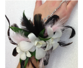 Retro Dendrobium Feather Wristlet in Waterbury, Connecticut, The Orchid Florist