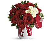 Teleflora's Roses And Holly Bouquet in Dallas TX, Petals & Stems Florist