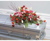 Pink & Red Casket Spray in Miami, Florida, Creation Station Flowers & Gifts