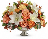 Teleflora's Harvest Shimmer Centerpiece in Peterborough ON, Flowers By Kay