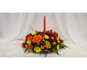Harvest Candle Centerpiece in Newburgh NY, Foti Flowers at Yuess Gardens