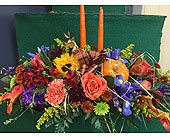 Long & Low Centerpiece with candles in Lowell MA, Wood Bros Florist