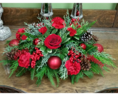 Holiday Wishes Centerpiece in Raleigh NC, Gingerbread House Florist - Raleigh NC
